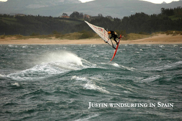 Justin forward loop windsurfing in Spain